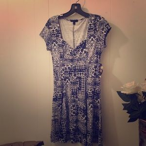 Fit & Flare Dress Blue & White